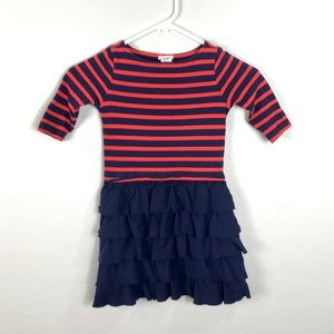 Crewcuts Girl's 6 Blue Red Striped Ruffle Dress